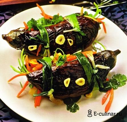 Готовое блюдо Квашенные баклажаны, фаршированные овощами