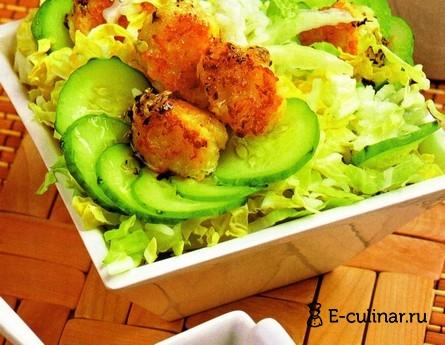 Готовое блюдо Салат с рисом и рыбными фрикадельками