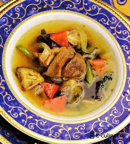 Готовое блюдо Суп из баранины с баклажанами