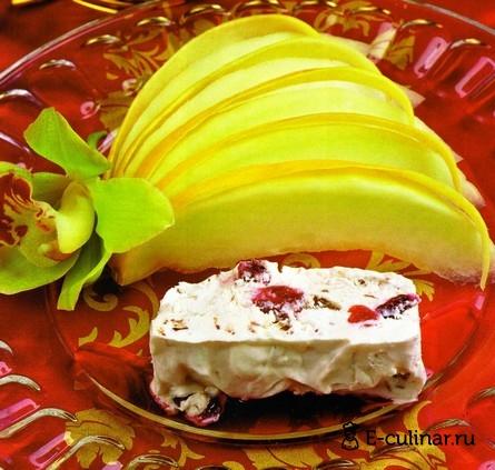 Готовое блюдо Дыня с замороженным сырным муссом