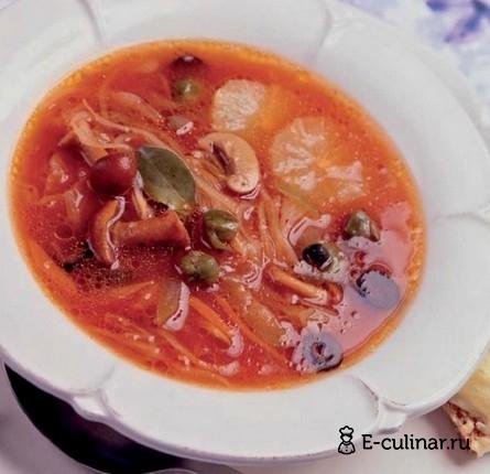 Готовое блюдо Суп овощная солянка с капустой и грибами