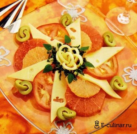 Готовое блюдо Салат с грейпфрутом и сыром