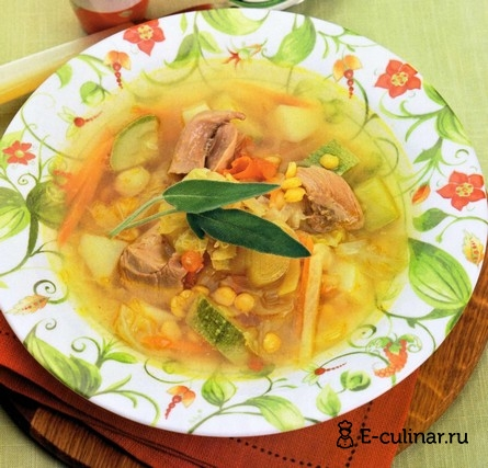 Готовое блюдо Суп из индейки с савойской капустой