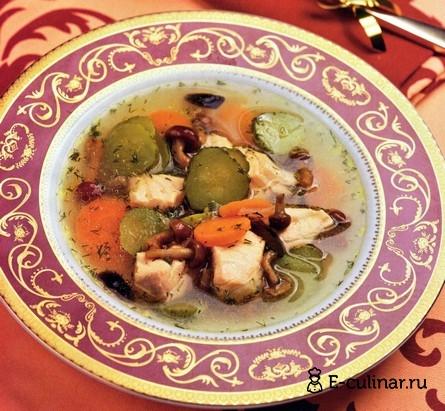 Готовое блюдо Суп из семги с грибами