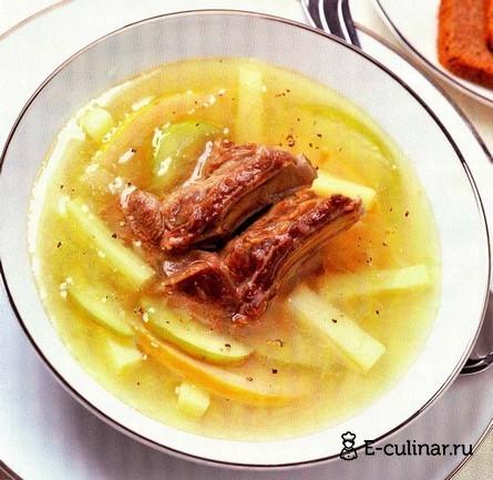 Готовое блюдо Суп из баранины с айвой