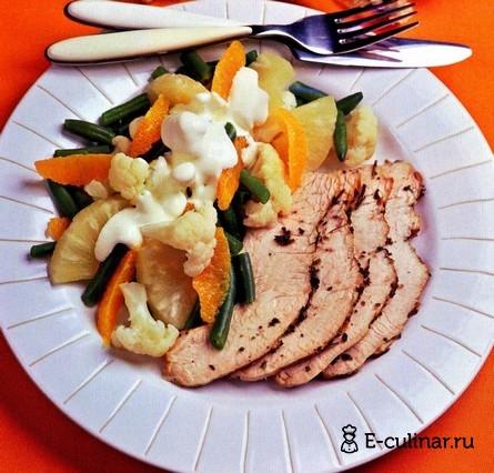 Готовое блюдо Салат с запеченной индейкой