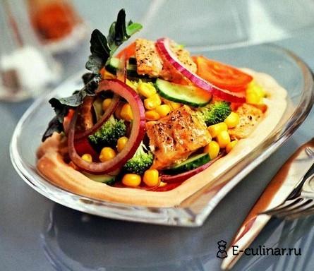 Готовое блюдо Рыбный салат с брокколи