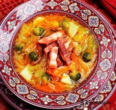 Готовое блюдо Суп капустный с копченой грудинкой