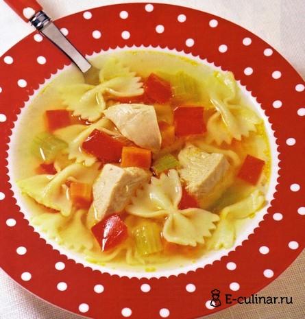 Готовое блюдо Суп из индейки с фарфалле
