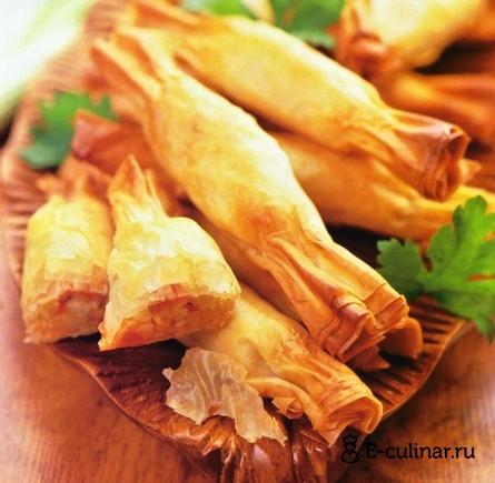 Готовое блюдо «Конфетки» из теста фило с овощами