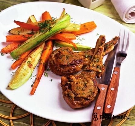 Готовое блюдо Рёбра молодого барашка с чесноком