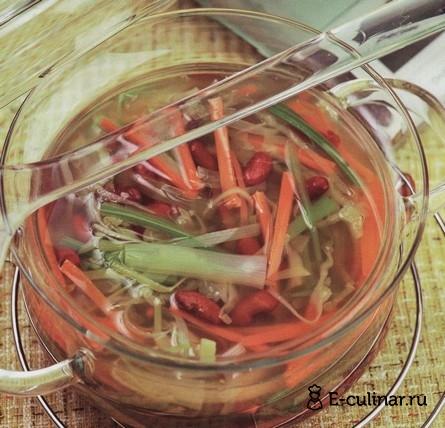 Готовое блюдо Лёгкий овощной суп с фасолью