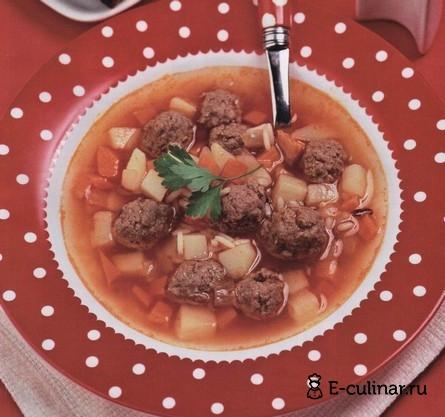Готовое блюдо Суп с мясными фрикадельками
