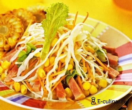 Готовое блюдо Овощной салат с ветчиной