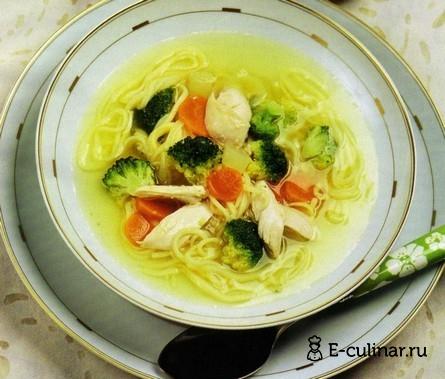 Готовое блюдо Суп куриный с лапшой и овощами
