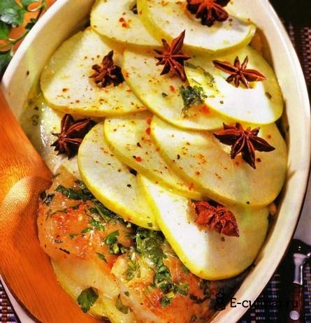 Готовое блюдо Рыба с яблоками