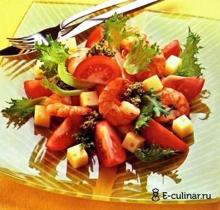 Готовое блюдо Салат из помидоров и сыра с соусом песто