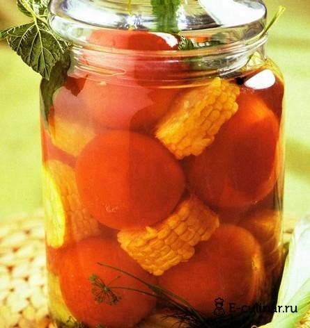 Готовое блюдо Консервированные помидоры с кукурузой