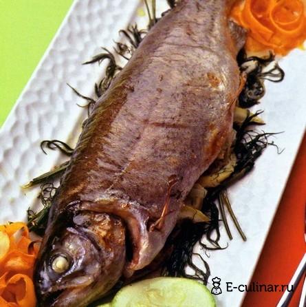 Готовое блюдо Форель, запеченная с овощами