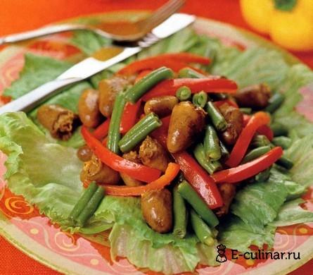 Готовое блюдо Теплый салат с куриными сердечками