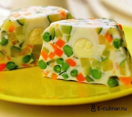 Готовое блюдо Овощи в желе из йогурта