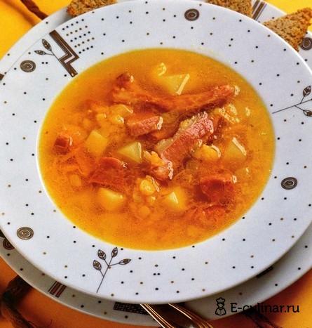 Готовое блюдо Гороховый суп с копчеными ребрышками