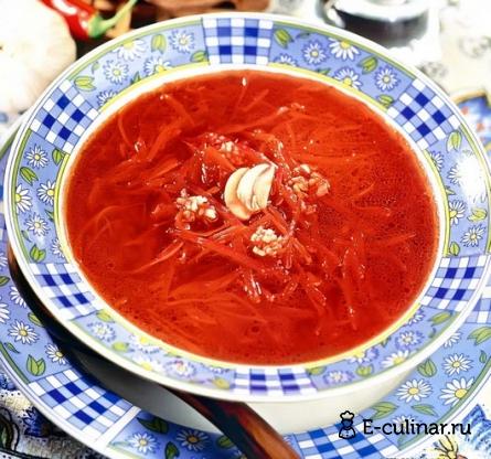 Готовое блюдо Борщ из печёной свеклы