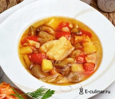Готовое блюдо Рыбный суп с беконом