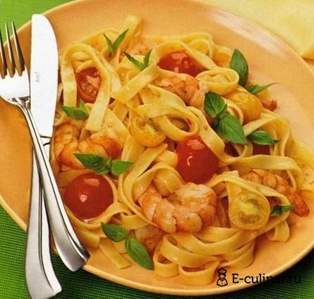 Готовое блюдо Паста с креветками, помидорами и базиликом