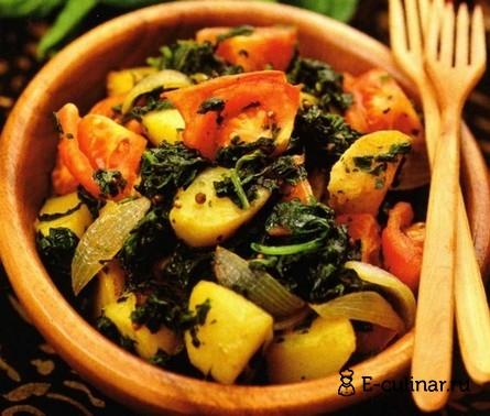 Готовое блюдо Картофель со шпинатом