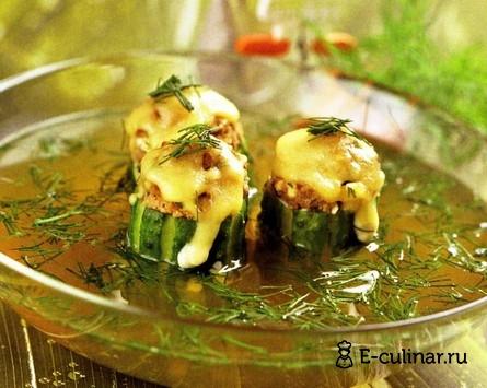 Готовое блюдо Бульон мясной с фаршированными огурцами