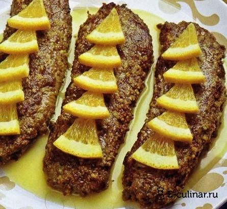 Готовое блюдо Жареная печень с апельсинами