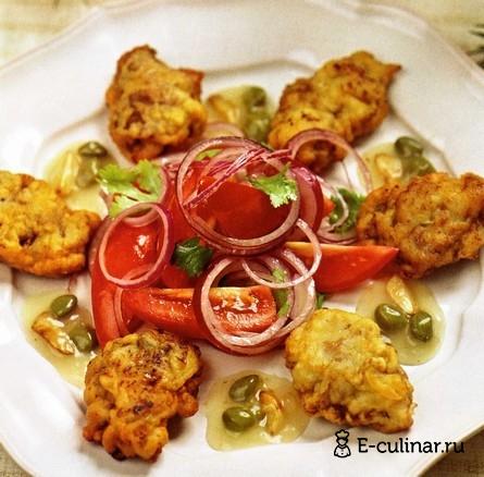 Готовое блюдо Баранина в кляре с соусом из каперсов