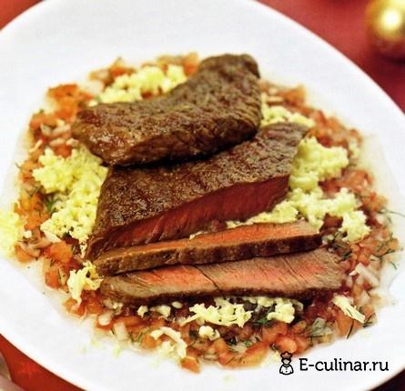 Готовое блюдо Отбивные из говядины с консоме из свежих овощей