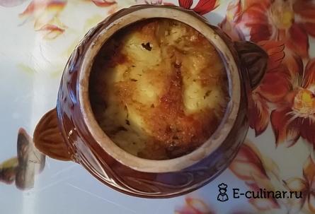 Готовое блюдо Картошка в горшочках с мясом и грибами