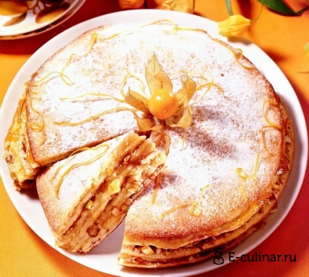 Готовое блюдо Блинный торт с апельсиновым джемом