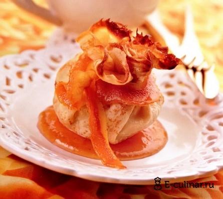 Готовое блюдо Запеченные блинчики с творожно-персиковой начинкой