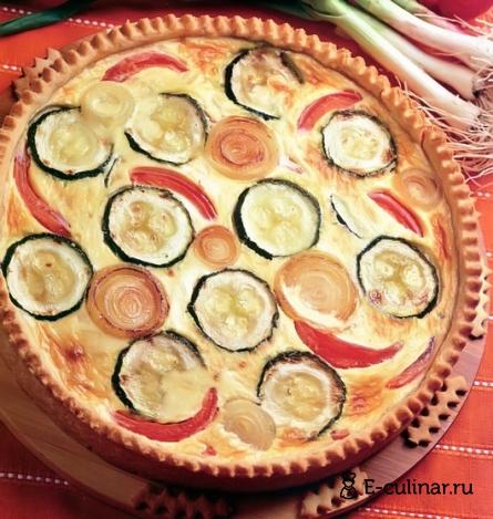Готовое блюдо Открытый пирог с цукини