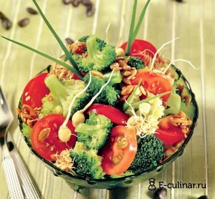 Готовое блюдо Салатик из капусты брокколи с нутом и зернами пшеницы
