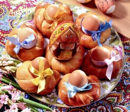 Готовое блюдо Булочки с пасхальными яйцами