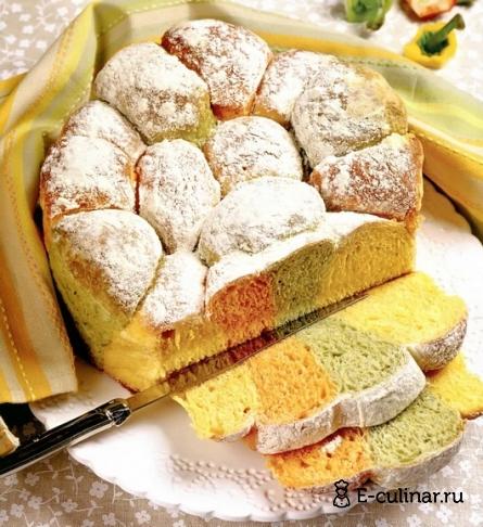 Готовое блюдо Необычный трехцветный хлеб