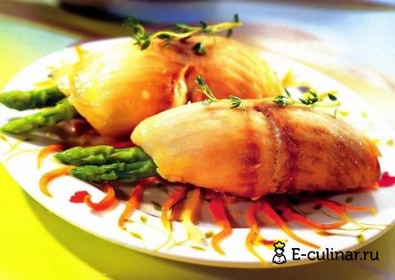 Готовое блюдо Рулетики из рыбы с овощами