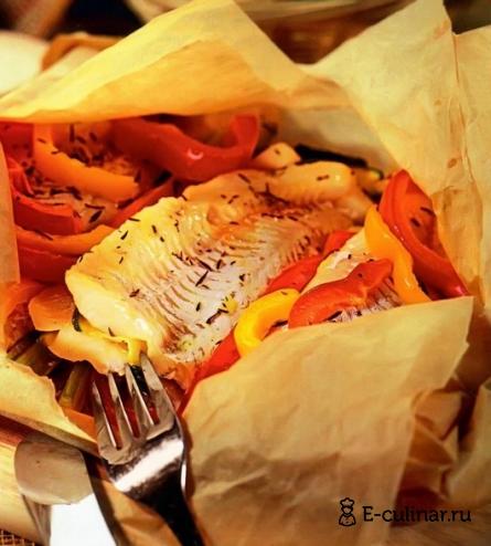 Готовое блюдо Филе судака в пергаменте