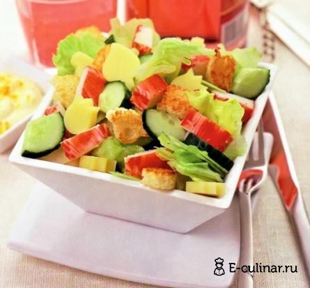 Готовое блюдо Крабово-огуречный салат