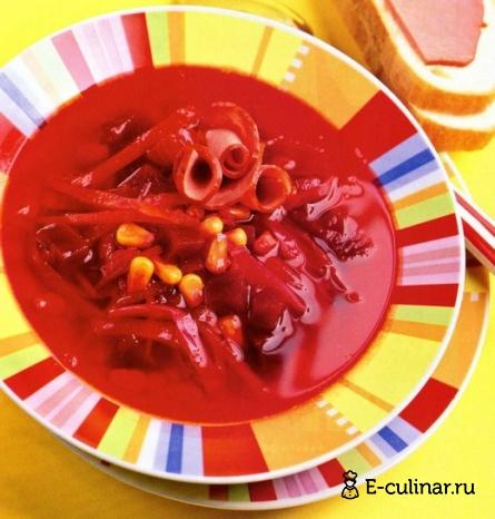 Готовое блюдо Борщ с кукурузой и копченым мясом