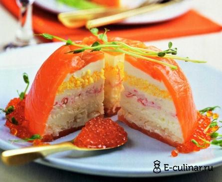 Готовое блюдо Салат рыбный торт