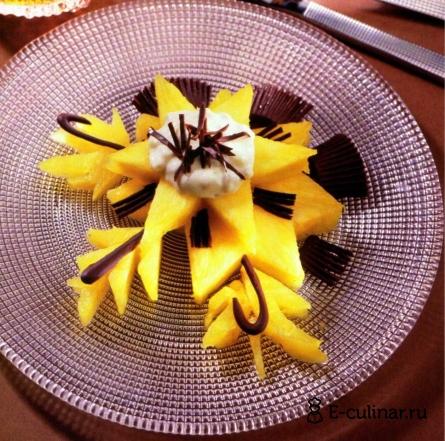 Готовое блюдо Ананас с банановым кремом