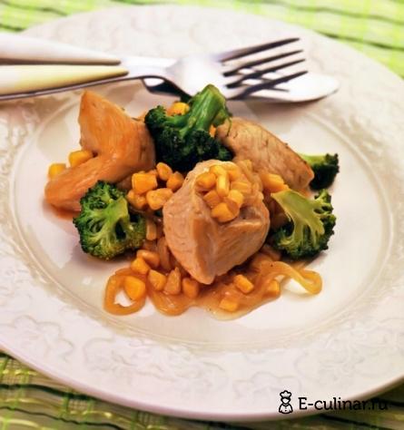 Готовое блюдо Тушеная индейка с брокколи
