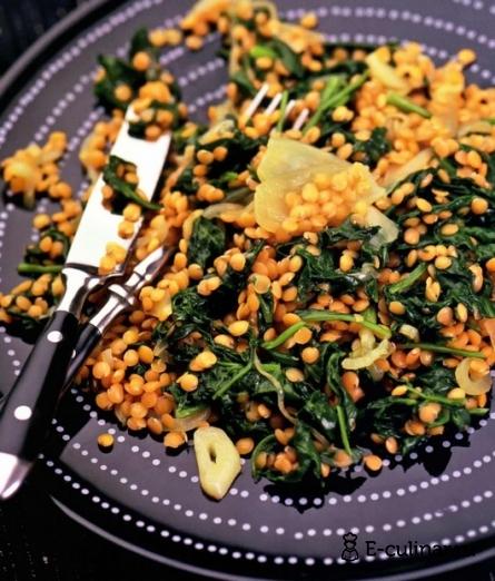 Готовое блюдо Чечевица со шпинатом
