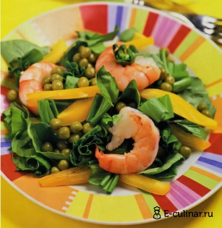 Готовое блюдо Салат с черемшой и креветками